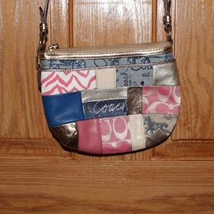 Coach cross body pink and gold patchwork